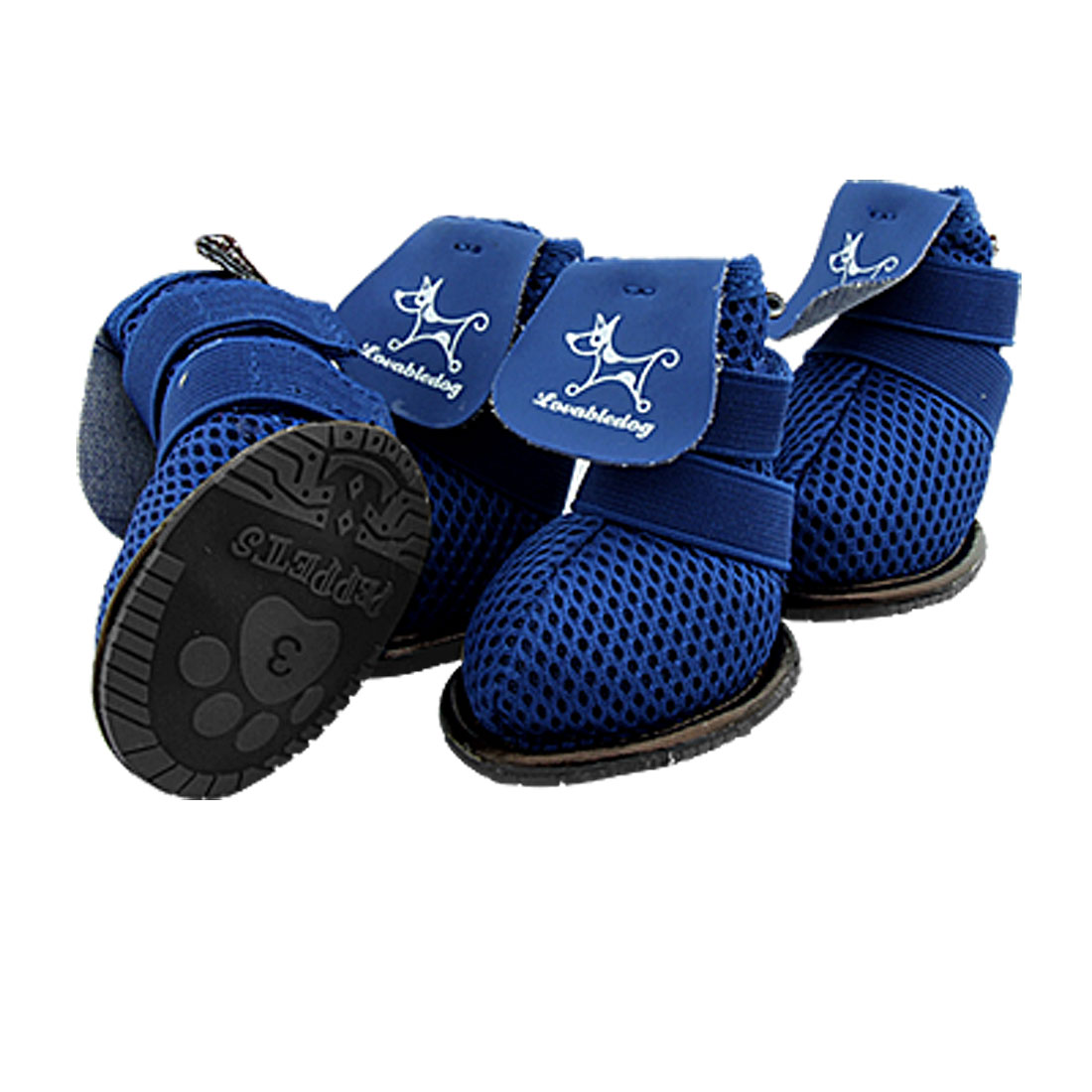Protective Puppy Pet Dog Shoes Blue Boots Booties Size 3