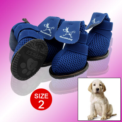 Blue Protective Puppy Pet Dog Shoes Boots Booties Size 2