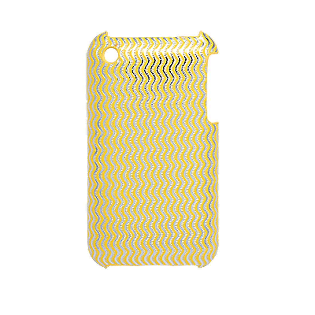 Yellow Wave Printed Hard Plastic Back Case for Apple iPhone 3G