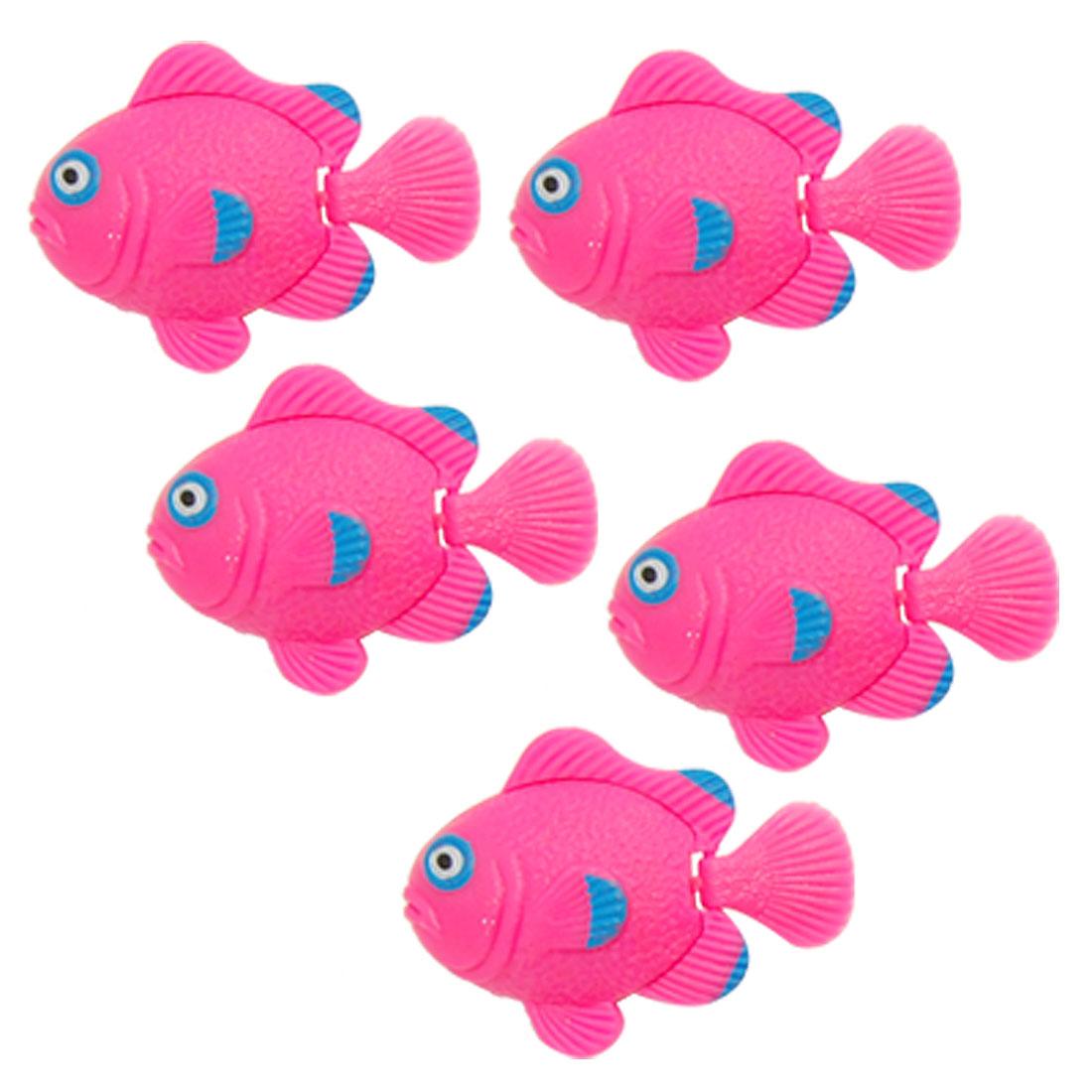 Pink Plastic Floating Fish Aquarium Tank Ornament 5 PCS