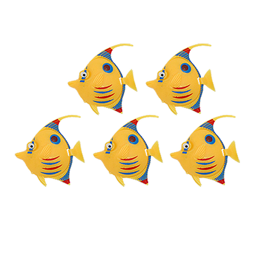 Set of 5 Aquarium Plastic Floating Fish Ornament Yellow