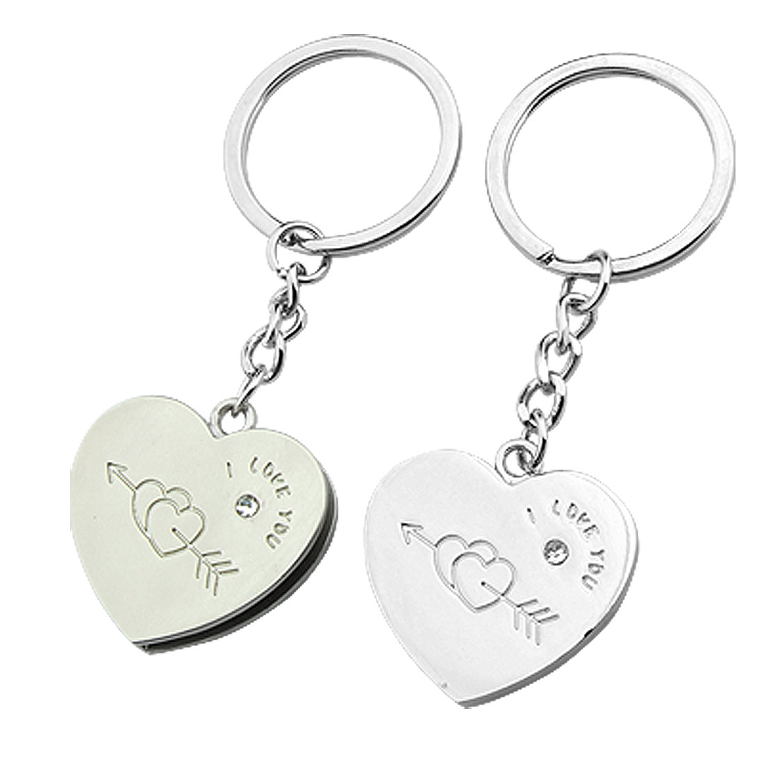 "Heart Pendants Key Chains Couple Romantic Rings ""I love you"""