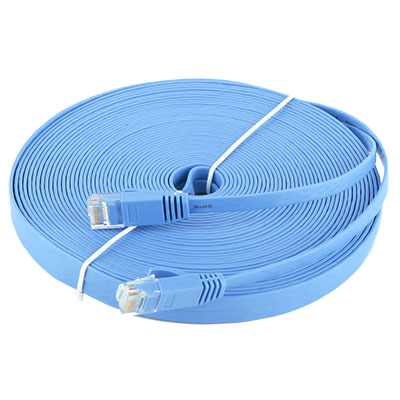 65.6FT 20M CAT6 CAT 6 Flat UTP Ethernet Network Cable RJ45 Patch LAN Cord Blue