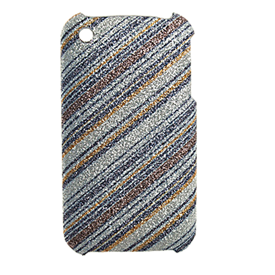 Glittery Plastic Leather Coated Back Case for iPhone 3GS
