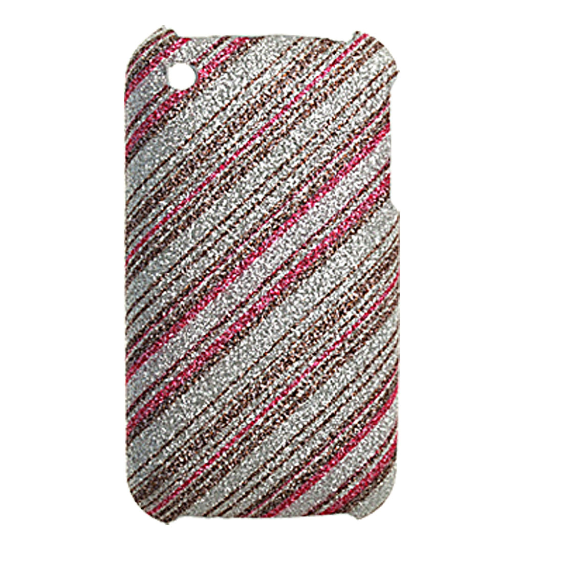 Plastic Glittery Leather Coated Back Case for iPhone 3GS