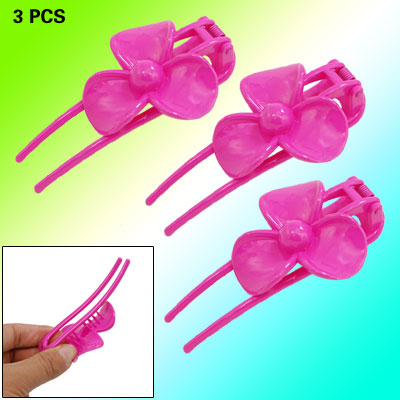 3pcs Amaranth Pink Flower Ladies' Plastic Barrette Claw Hair Clip