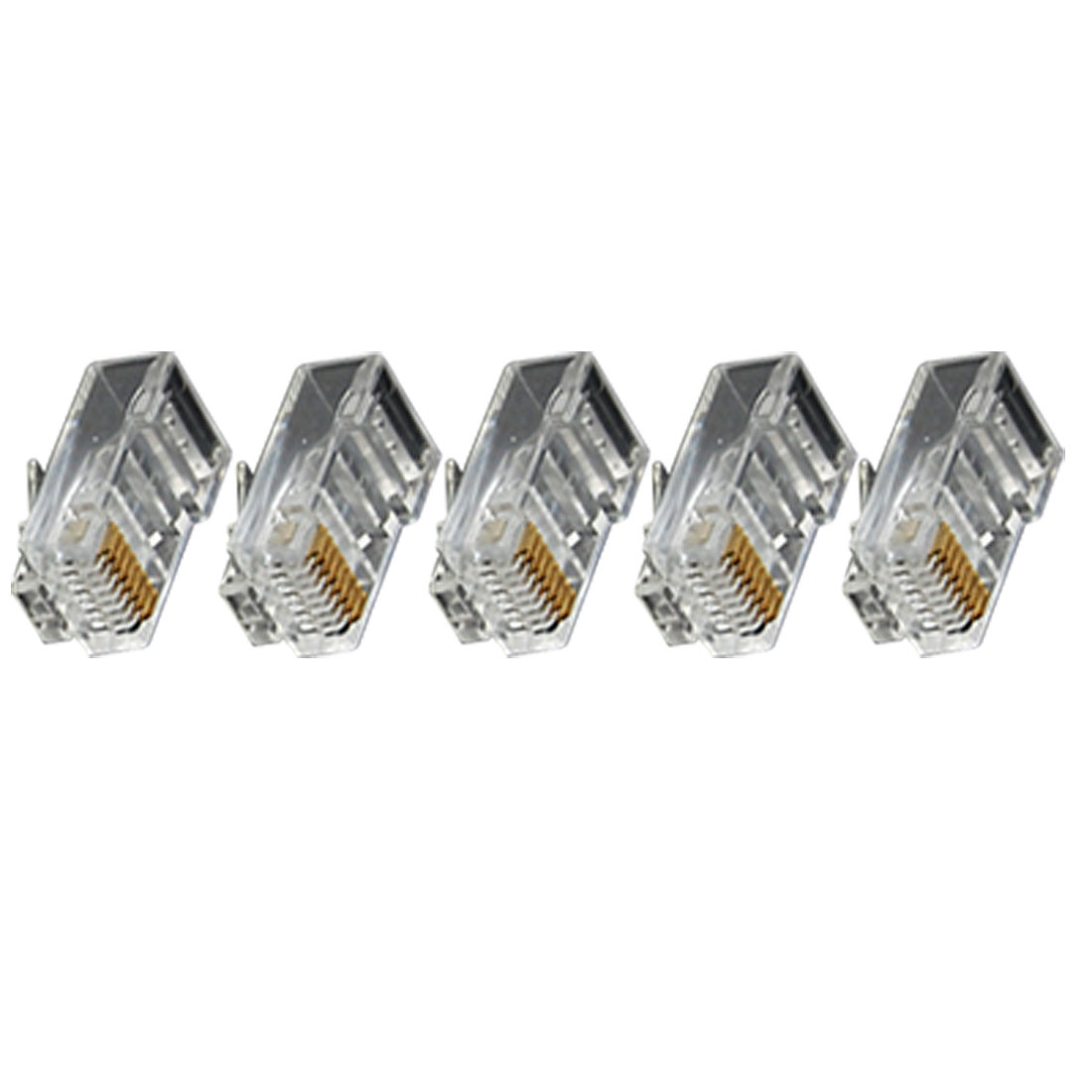 RJ-45 CAT5 Polycarbonate Modular Interface Network Connector Clear 50 PCS