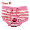 Pet Dog Puppy Cotton Blends Striped Hygiene Diaper Nappy Sanitary Pants Pink White Size M