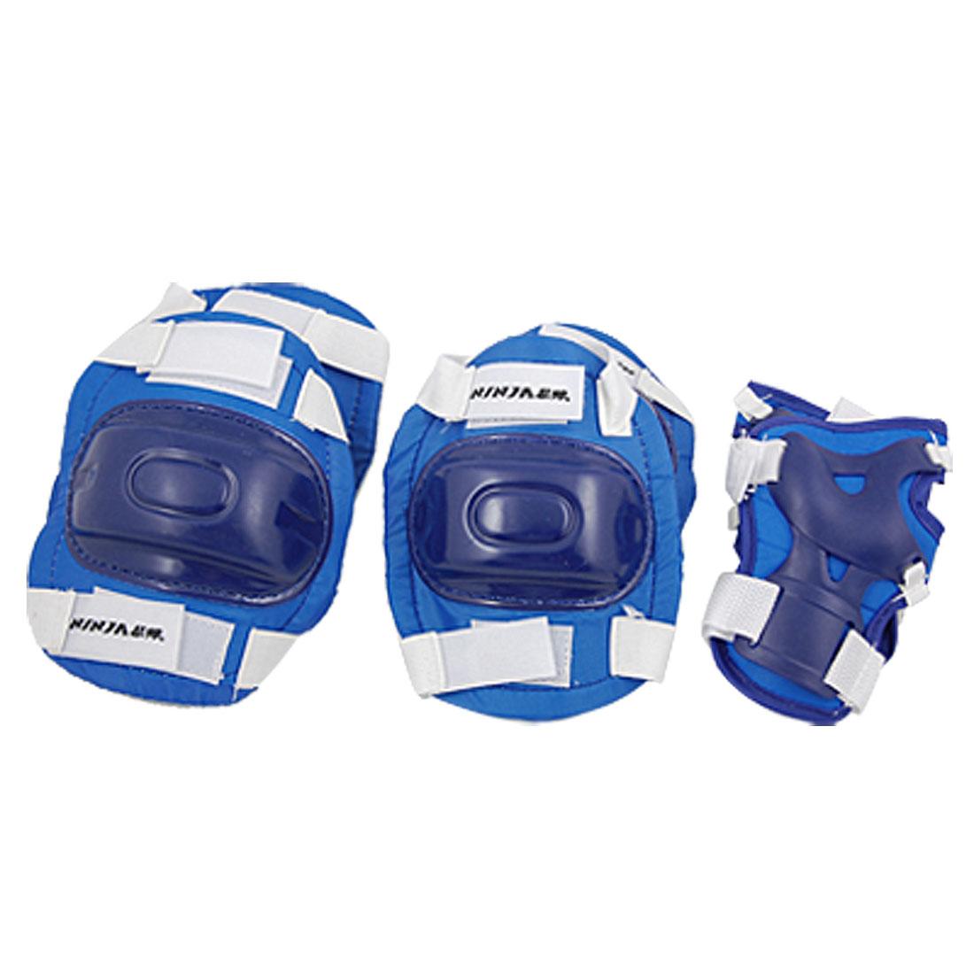 Children Elbow Knee Wrist Skating Pads Support Protector Set Blue