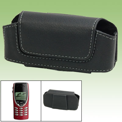 Black Faux Leather Phone Pouch Shell Case for Nokia 8210