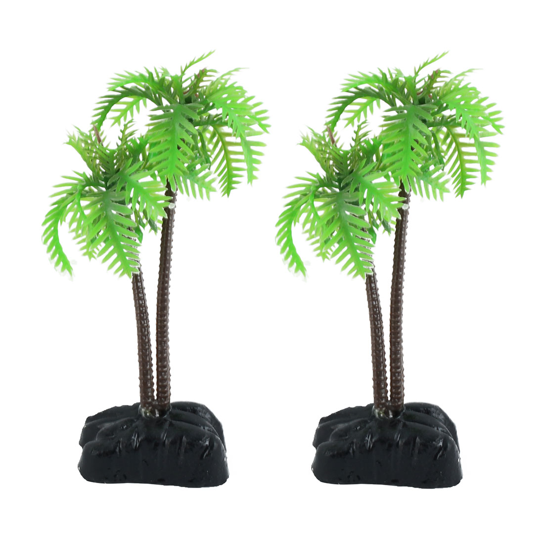2 PCS Plastic Coco Tree Plants for Fish Tank Aquarium Deocr