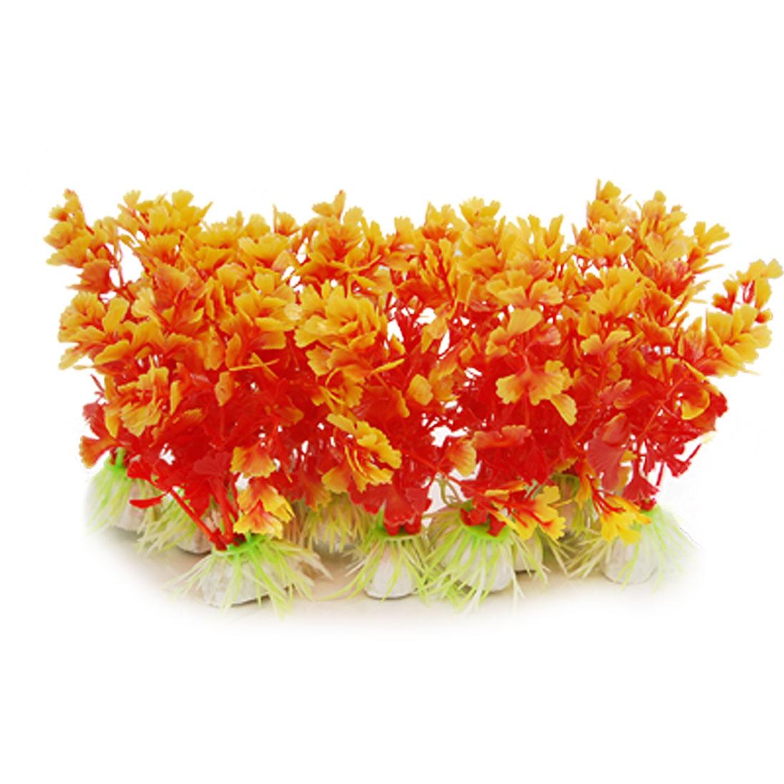 10 x Mini Aquarium Plastic Plants Ornament with Anchor Base
