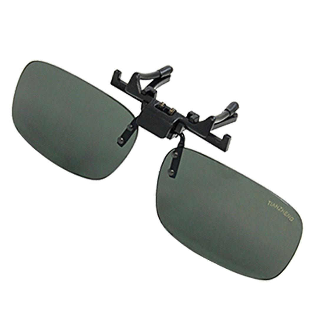 Handsome Darkgreen Plastic Lens Unisex Clip-on Glasses