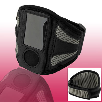 Adjustable Gray Black Mesh Hook and Loop Fastener Armband Case for iPod Nano 5G