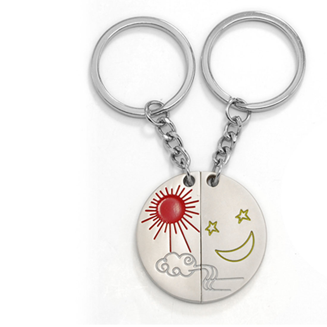 Sun Moon Star Pattern Semi-circle Pendant Keyring Key Chain 2PCS