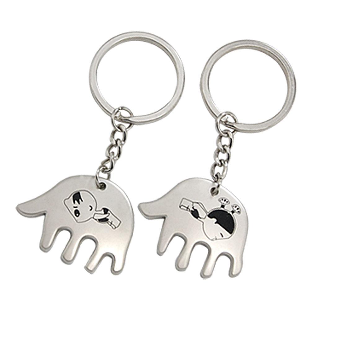 2PCS Kid Pattern Hand-shaped Pendant Lover's Keyring Key Chain