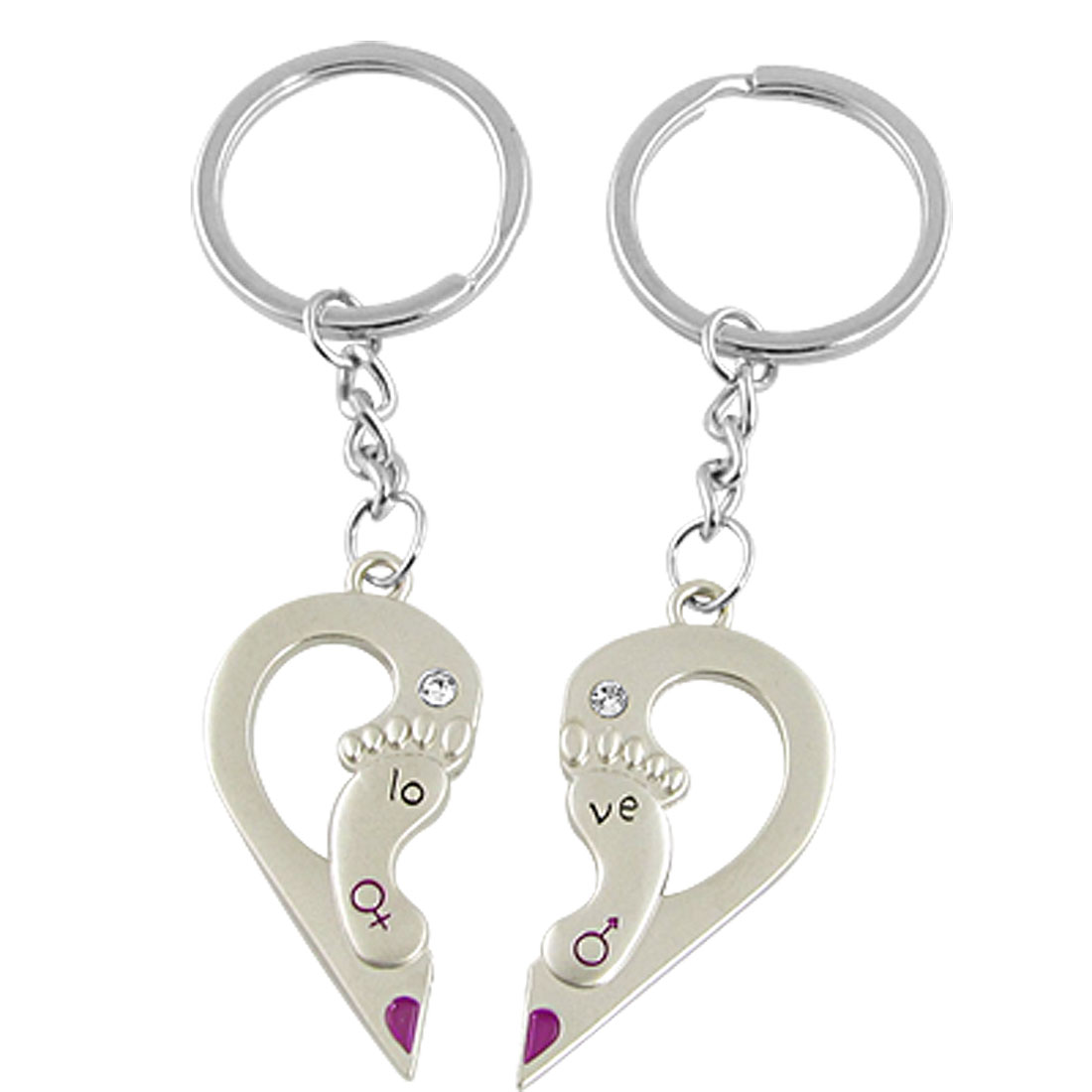 Pair Couple Keychain Keyring Half-heart Foot Pendant