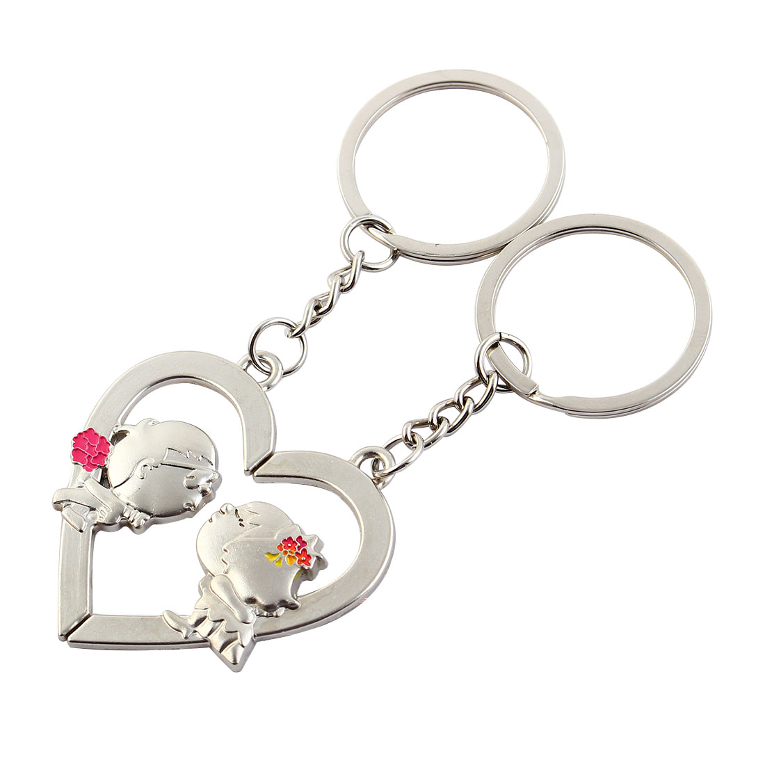 """Heart Kiss ""Pendant Keychain Silvery Pair Lover's Keyring"