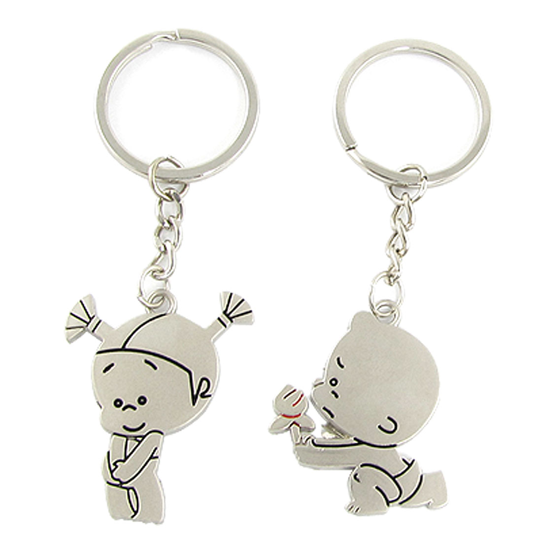 Boy Girl Design Metal Keychain Couple Key Ring Chain 2 PCS