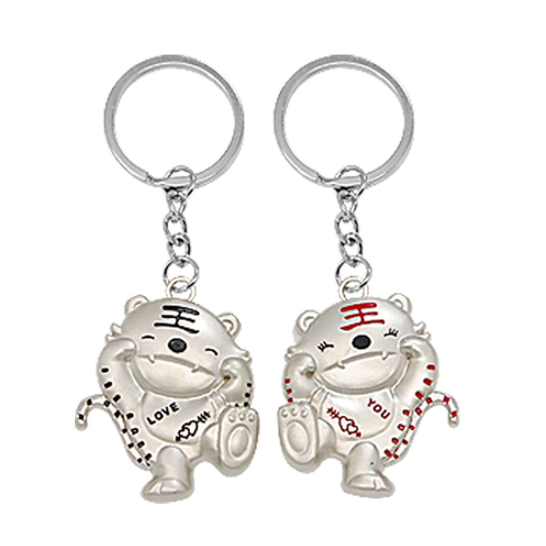 Set of 2 Tiger Style Metal Key Ring Chain Couple Keychain