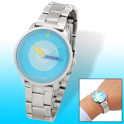 Blue Circular Ring Dial Round Face Women's Quartz Watch