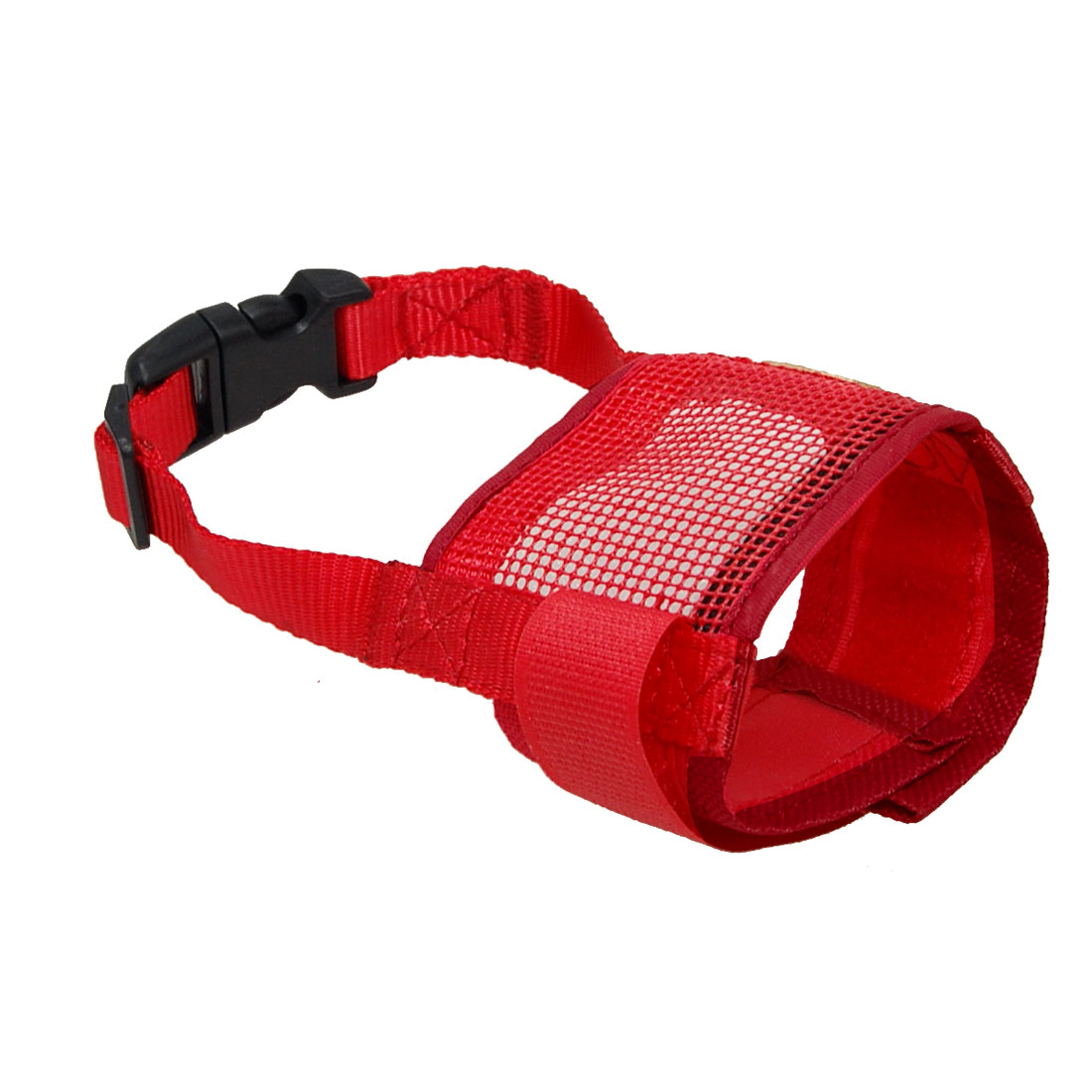 Dog Pet Barking Biting Chew Mesh Muzzle Breathable Adjustable Mask Red Size S