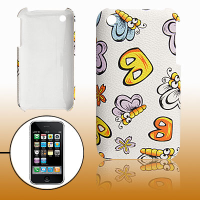 Butterfly Print Faux Leather Coated Plastic Back Case for iPhone 3G