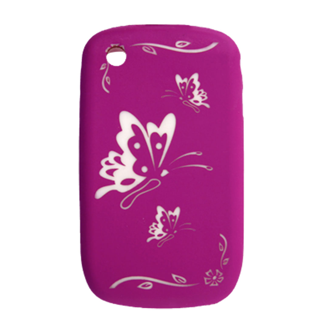 Butterfly Pattern Amaranth Silicone Case Skin for BlackBerry Curve 8520