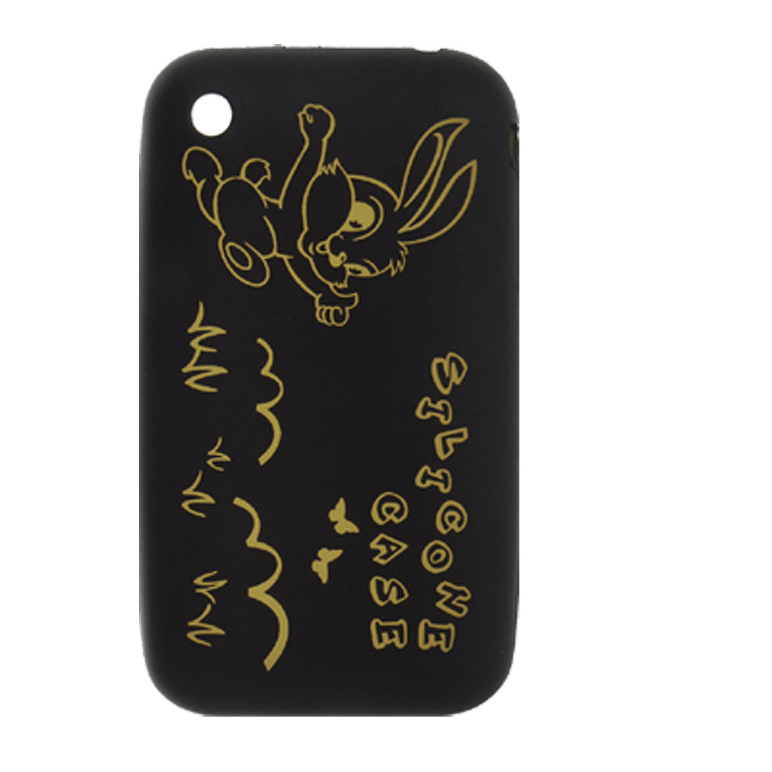 Black Silicone Rabbit Print Back Cover Case for iPhone 3GS