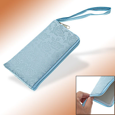 Flowered Protective Pouch Blue Case for iPhone 3G
