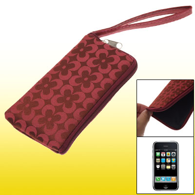 Red Faux Leather Protective Zipper Pouch for iPhone 3G