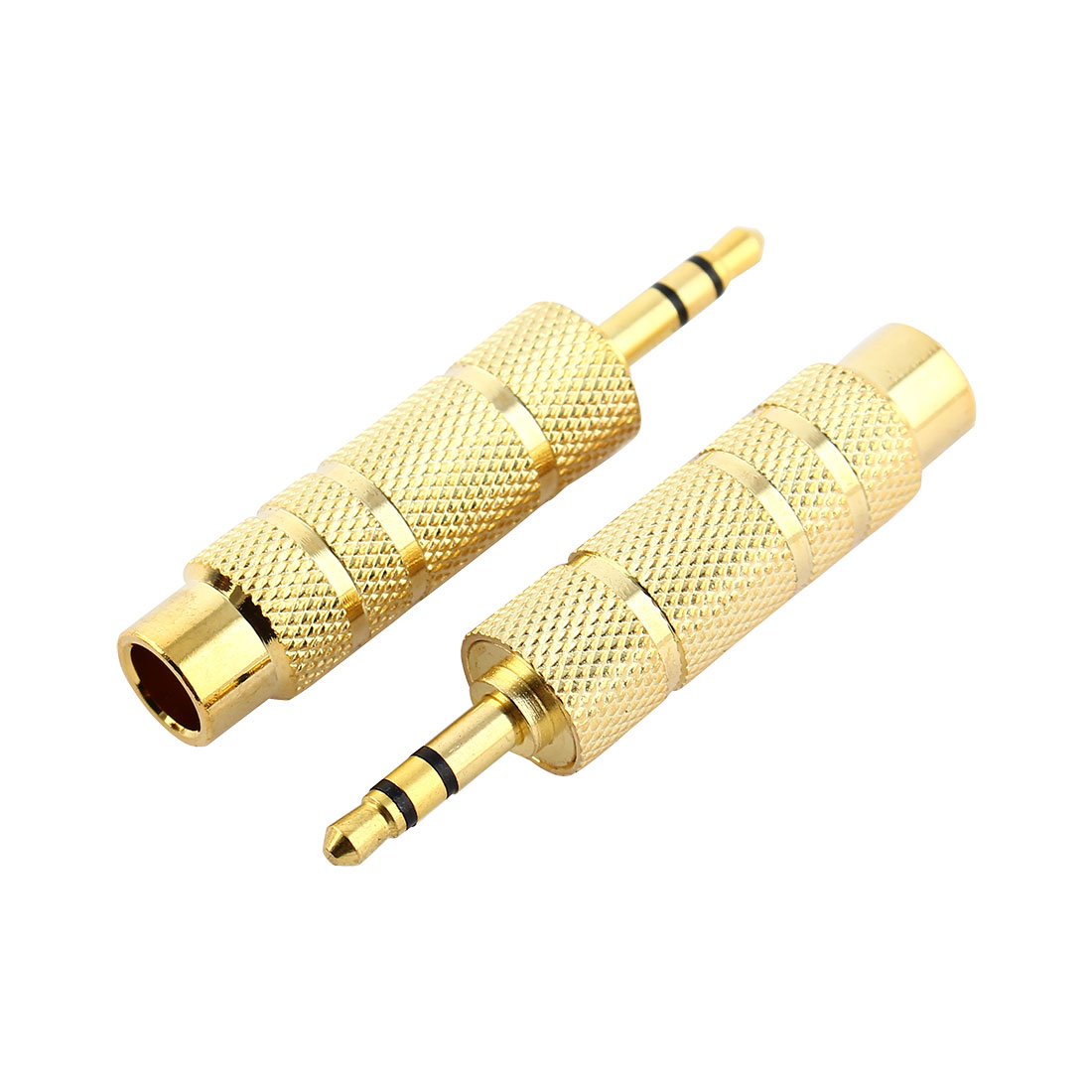 3.5mm Stereo Male to 6.3mm Audio Mono Female Connector Adapter Gold Tone 2pcs