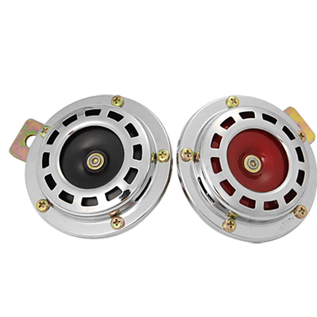 2 PCS Car Auto Vehicle DC 12V Loud Horn Speaker Silver Tone