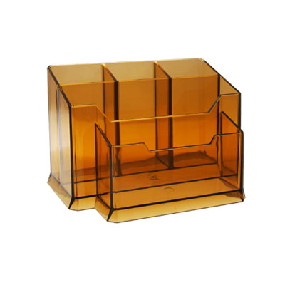 Multi-function Desktop Pen Holder Transparent Brown Desk Organizer