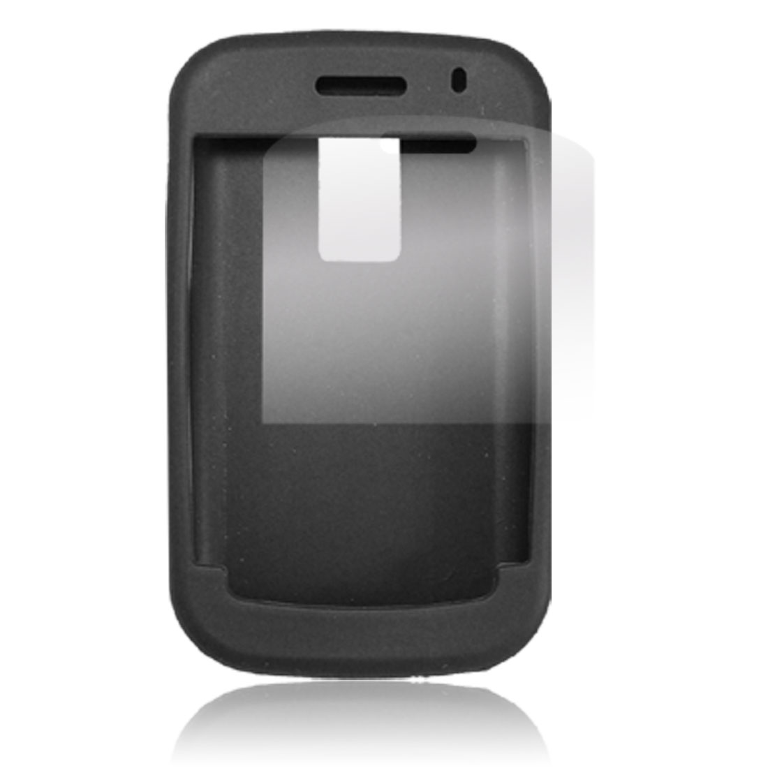 Silicone Skin Black Case LCD Screen Guard Kit for Blackberry 9000