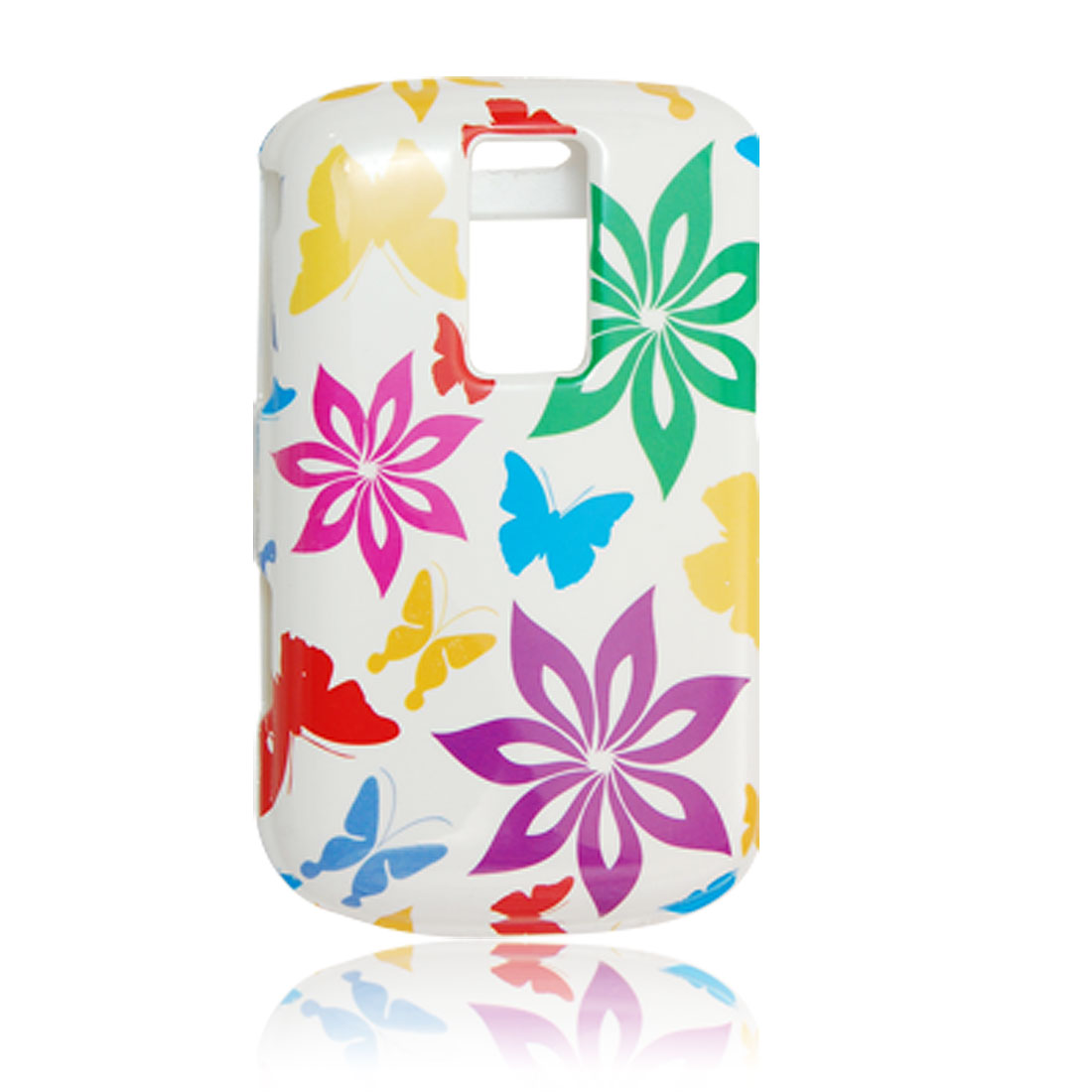 Multi-color Butterfly Flower Print Case + Screen Guard for Blackberry 9000