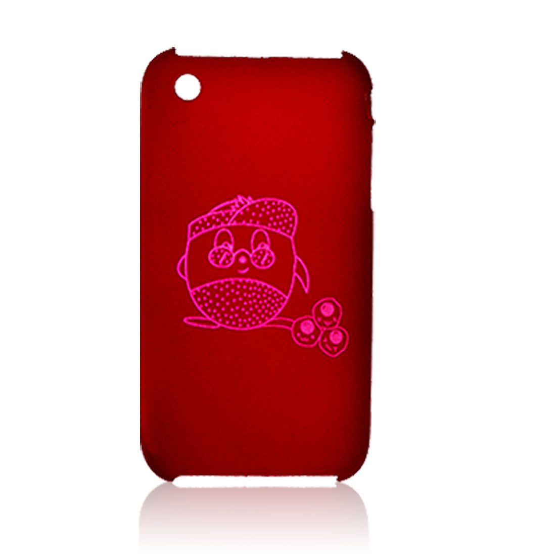 Rubberized Plastic Red Back Case for iPhone 3G w. Screen Guard