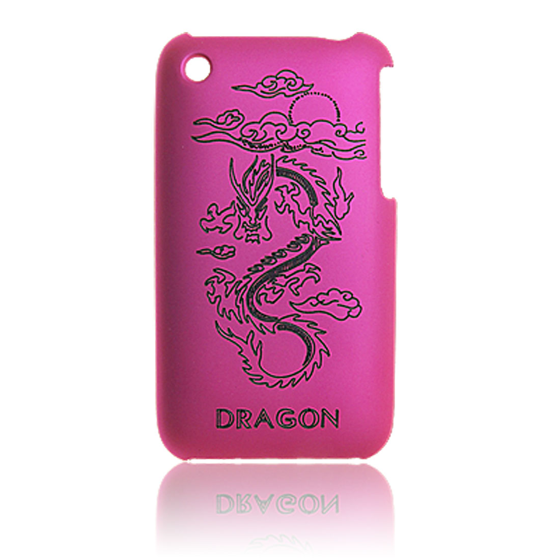 Dragon Pattern Amaranth Pink Plastic Back Case Screen Guard for iPhone 3G