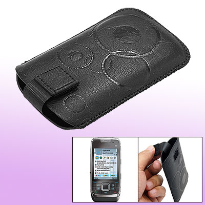 Black Faux Leather Sleeve Case Protector for Nokia E66