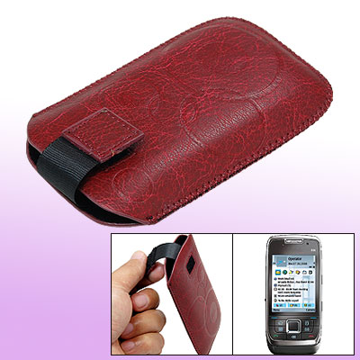 Flap Faux Leather Sleeve Case Pouch Crimson for Nokia E66