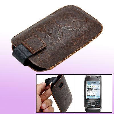 Brown Faux Leather Sleeve Case Cover Pouch for Nokia E66