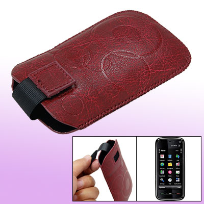Faux Leather Sleeve Flap Case Pouch Carmine for Nokia 5530