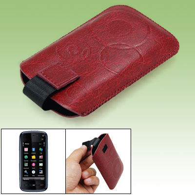 Ring Pattern Faux Leather Sleeve Case Crimson for Nokia 5800