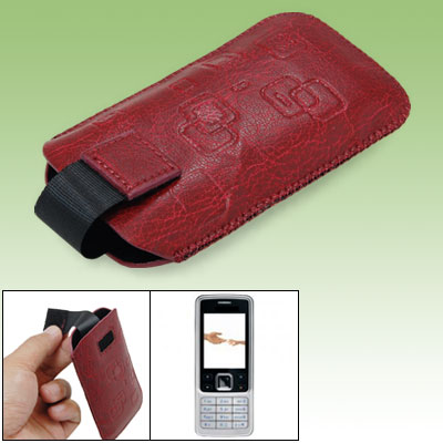 Protective Faux Leather Sleeve Case Pouch Crimson for Nokia 6300