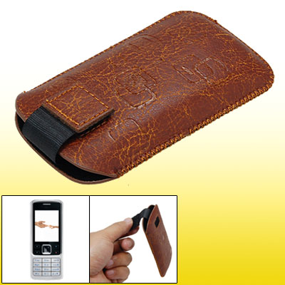 Brown Faux Leather Sleeve Case Cover Pouch for Nokia 6300