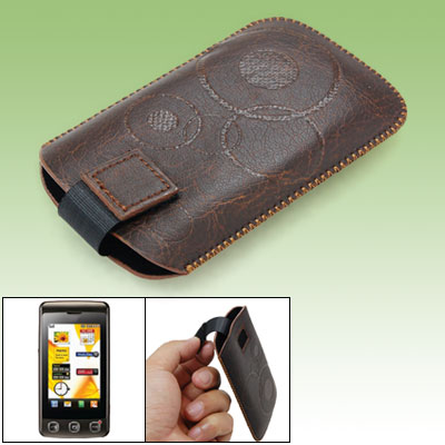 Brown Faux Leather Pouch for LG KP500