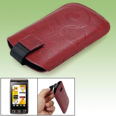 Faux Leather Sleeve for LG KP500 - Carmine