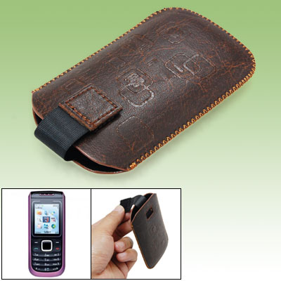 Brown Faux Leather Sleeve Case Pouch for Nokia 1680 Classic