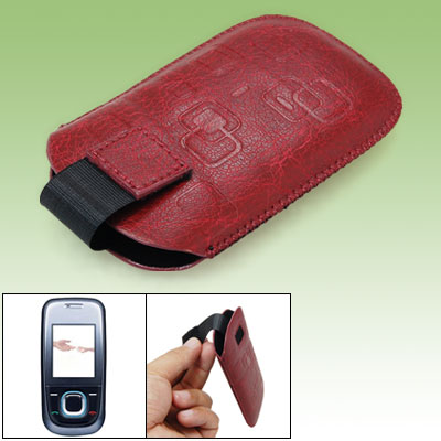 Faux Leather Sleeve Case Crimson for Nokia 2680 Slide