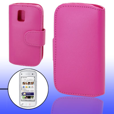 Purple Pink Faux Leather Case Cover Pouch for Nokia N97 Mini